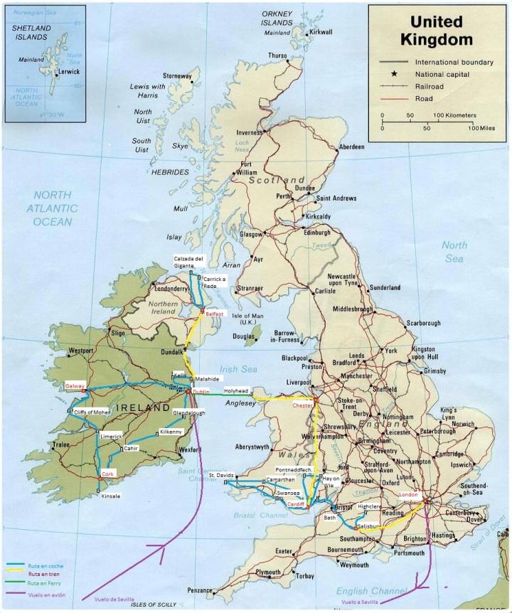 VIAJE 2015 mapa Irlanda y Gales